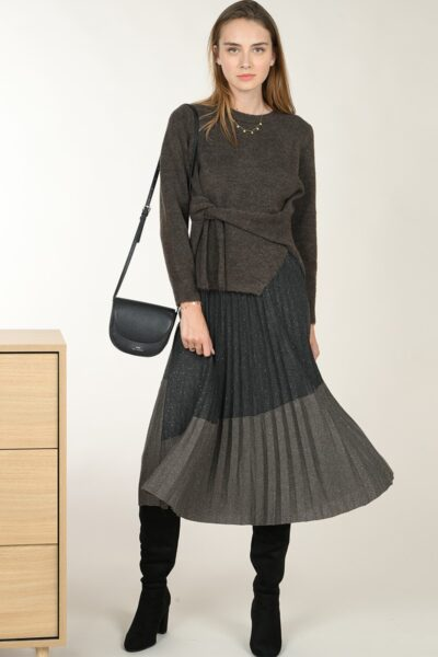 62020 pleated bi color skirt