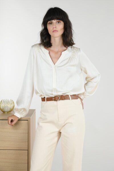 68277 v neck satin blouse